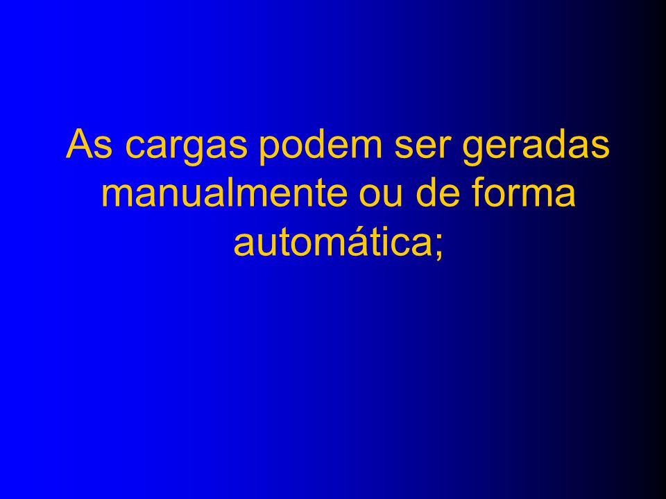 As cargas podem ser geradas manualmente ou de forma automática;