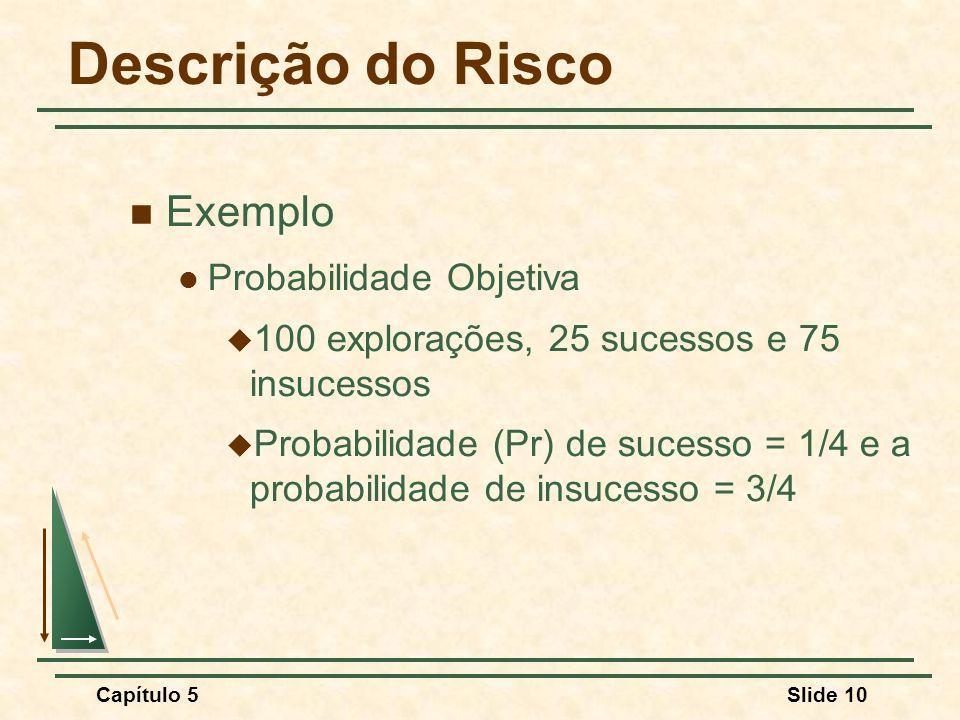 Capítulo 5Slide 10 Descrição do Risco Exemplo Probabilidade Objetiva 100 explorações, 25 sucessos e 75 insucessos Probabilidade (Pr) de sucesso = 1/4