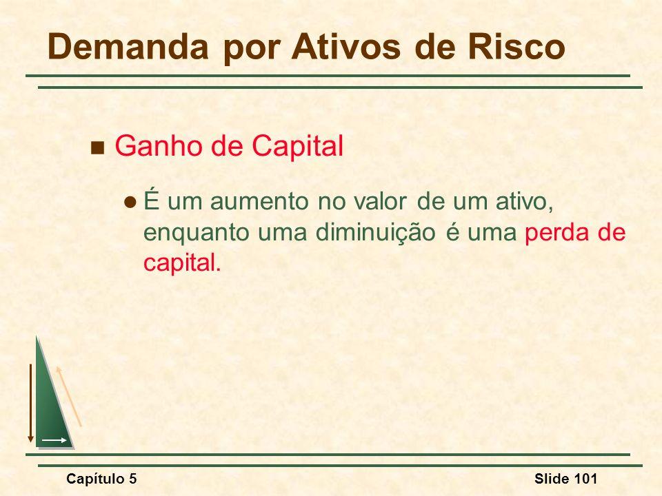 Capítulo 5Slide 101 Ganho de Capital É um aumento no valor de um ativo, enquanto uma diminuição é uma perda de capital. Demanda por Ativos de Risco