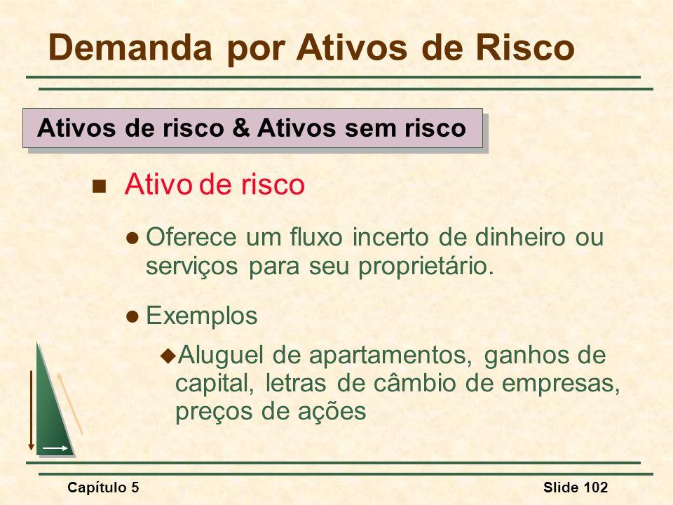 Capítulo 5Slide 102 Demanda por Ativos de Risco Ativo de risco Oferece um fluxo incerto de dinheiro ou serviços para seu proprietário. Exemplos Alugue
