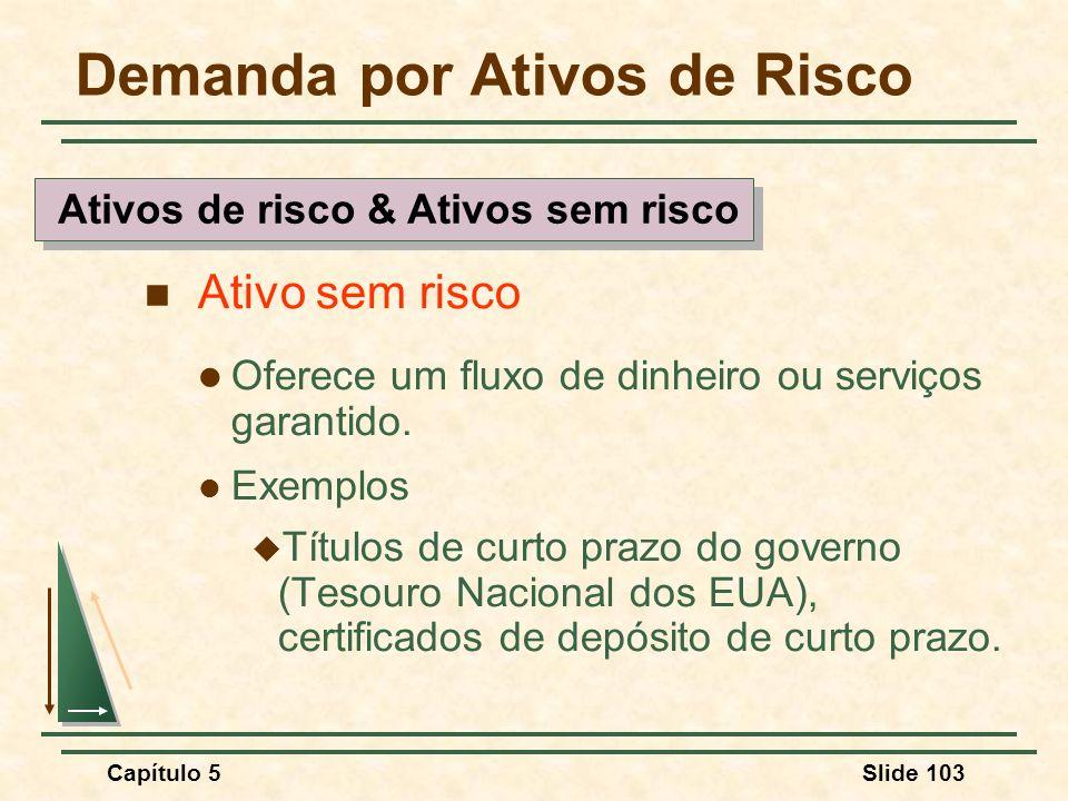 Capítulo 5Slide 103 Demanda por Ativos de Risco Ativo sem risco Oferece um fluxo de dinheiro ou serviços garantido. Exemplos Títulos de curto prazo do