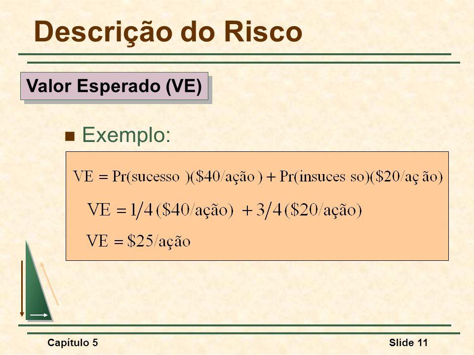 Capítulo 5Slide 11 Descrição do Risco Exemplo: Valor Esperado (VE)