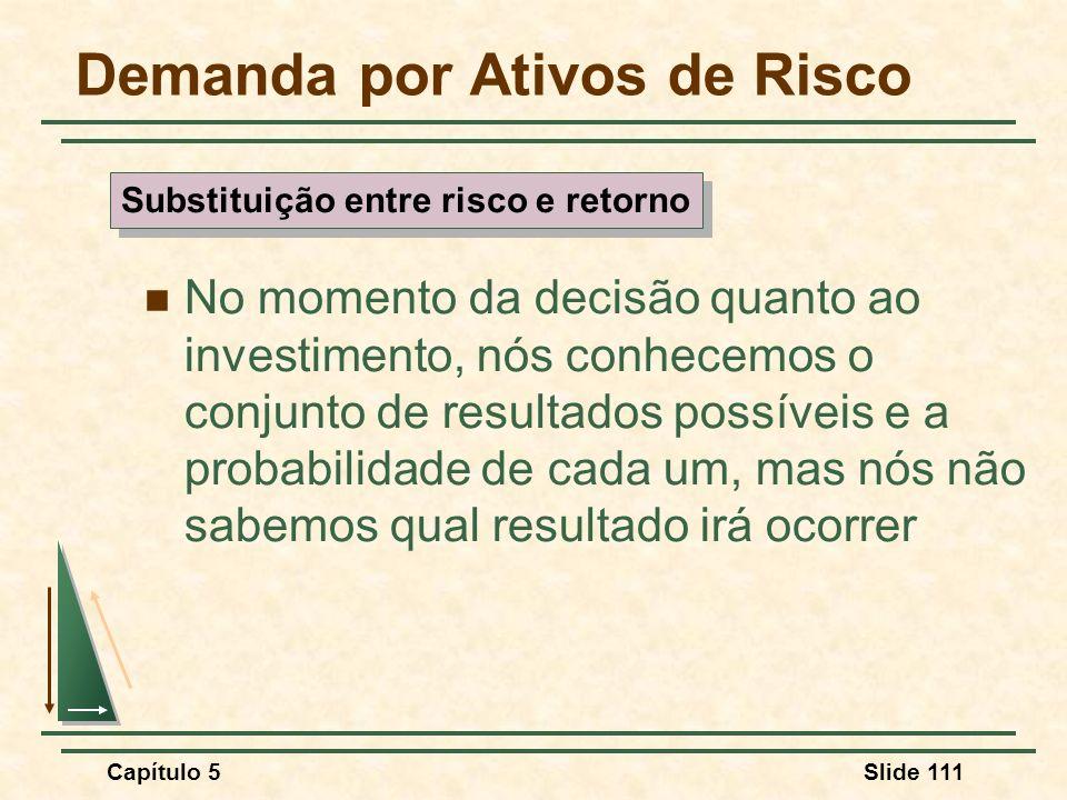Capítulo 5Slide 111 Demanda por Ativos de Risco No momento da decisão quanto ao investimento, nós conhecemos o conjunto de resultados possíveis e a pr