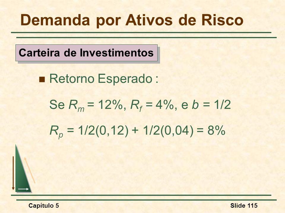 Capítulo 5Slide 115 Demanda por Ativos de Risco Retorno Esperado : Se R m = 12%, R f = 4%, e b = 1/2 R p = 1/2(0,12) + 1/2(0,04) = 8% Carteira de Inve