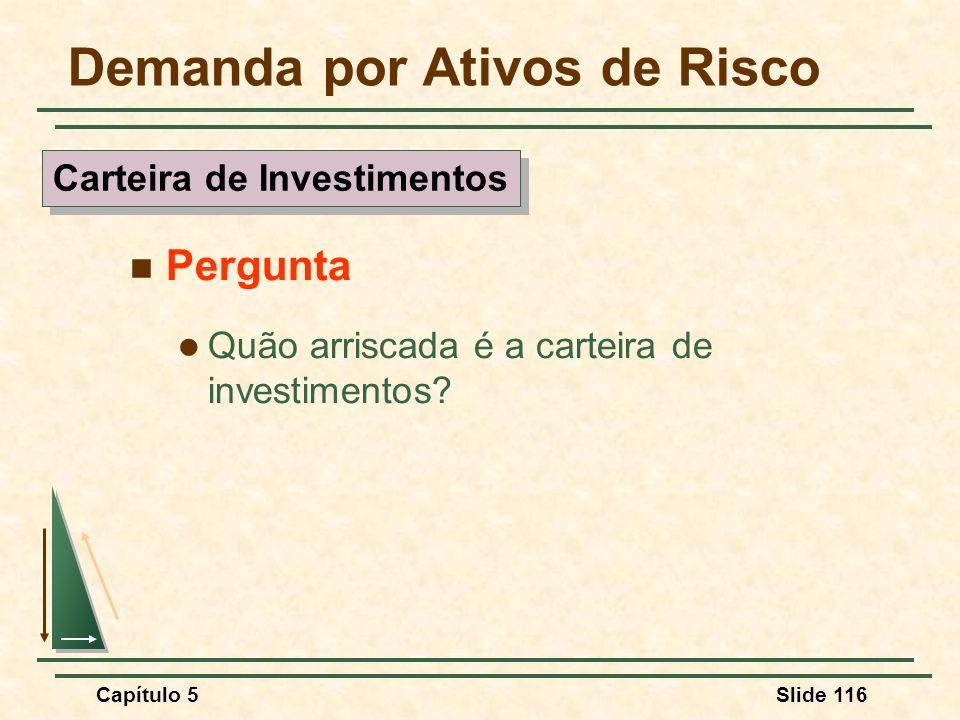 Capítulo 5Slide 116 Demanda por Ativos de Risco Pergunta Quão arriscada é a carteira de investimentos? Carteira de Investimentos