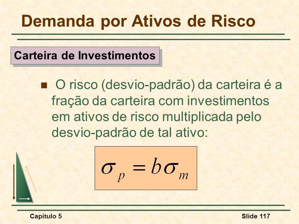 Capítulo 5Slide 117 Demanda por Ativos de Risco O risco (desvio-padrão) da carteira é a fração da carteira com investimentos em ativos de risco multip