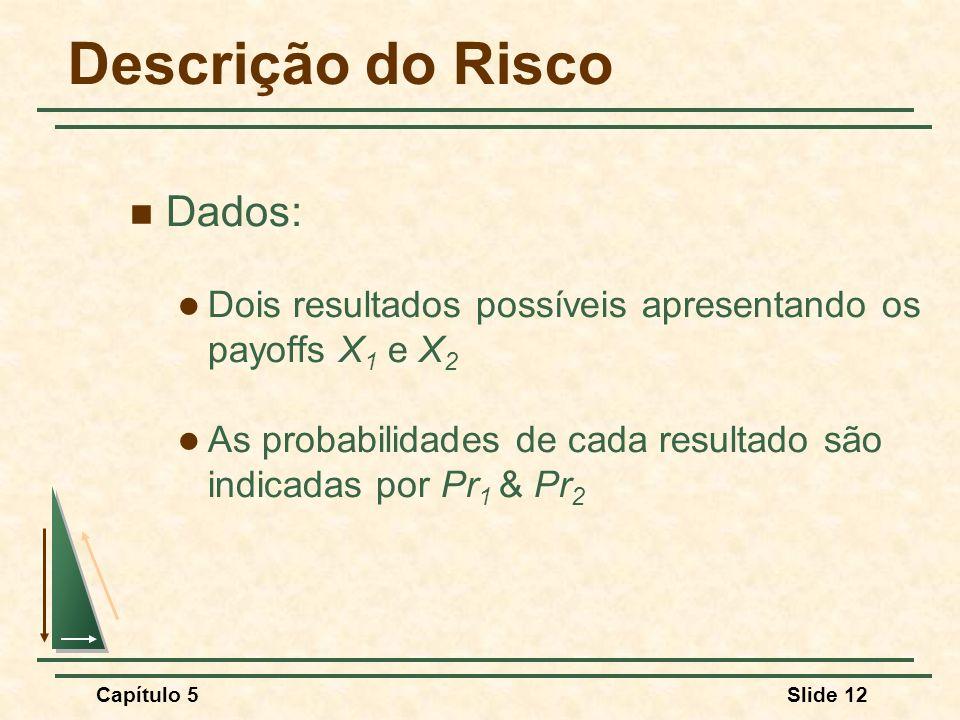 Capítulo 5Slide 12 Descrição do Risco Dados: Dois resultados possíveis apresentando os payoffs X 1 e X 2 As probabilidades de cada resultado são indic