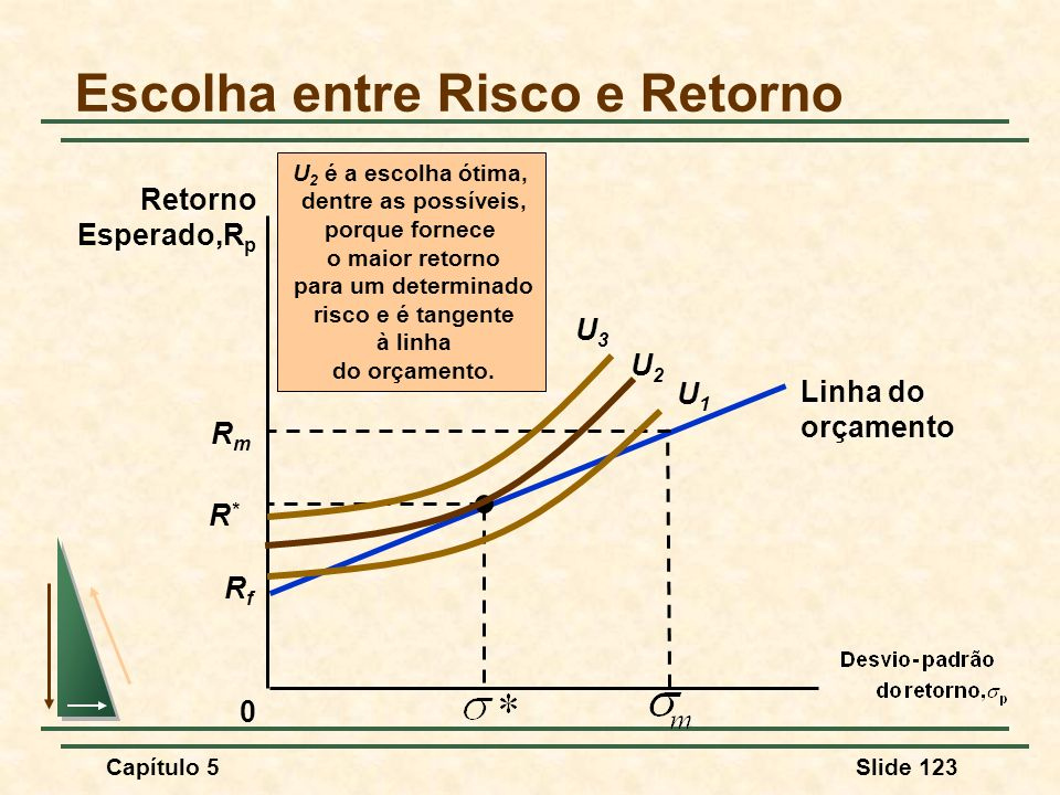 Capítulo 5Slide 123 Escolha entre Risco e Retorno 0 Retorno Esperado,R p U 2 é a escolha ótima, dentre as possíveis, porque fornece o maior retorno pa