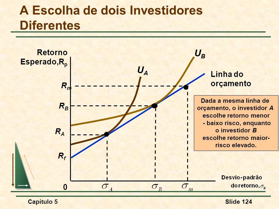 Capítulo 5Slide 124 RfRf Linha do orçamento A Escolha de dois Investidores Diferentes 0 Retorno Esperado,R p Dada a mesma linha de orçamento, o invest