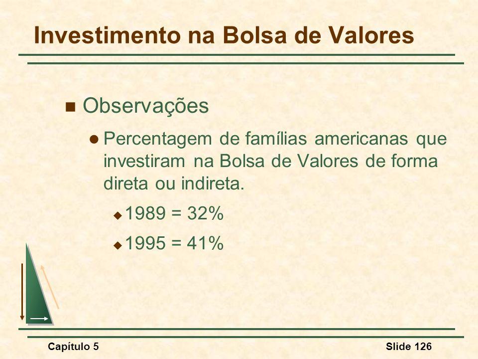 Capítulo 5Slide 126 Investimento na Bolsa de Valores Observações Percentagem de famílias americanas que investiram na Bolsa de Valores de forma direta
