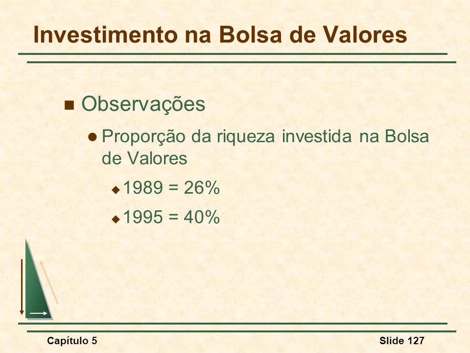 Capítulo 5Slide 127 Investimento na Bolsa de Valores Observações Proporção da riqueza investida na Bolsa de Valores 1989 = 26% 1995 = 40%