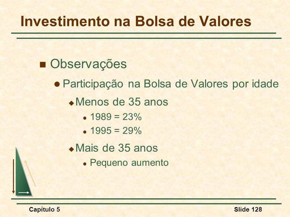 Capítulo 5Slide 128 Investimento na Bolsa de Valores Observações Participação na Bolsa de Valores por idade Menos de 35 anos 1989 = 23% 1995 = 29% Mai
