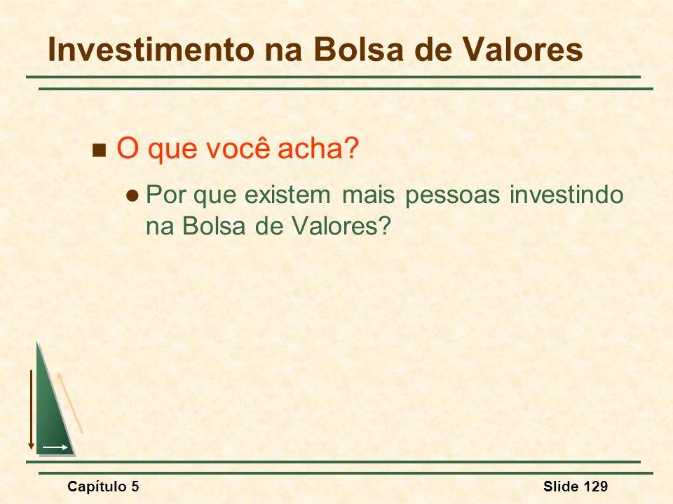 Capítulo 5Slide 129 Investimento na Bolsa de Valores O que você acha? Por que existem mais pessoas investindo na Bolsa de Valores?