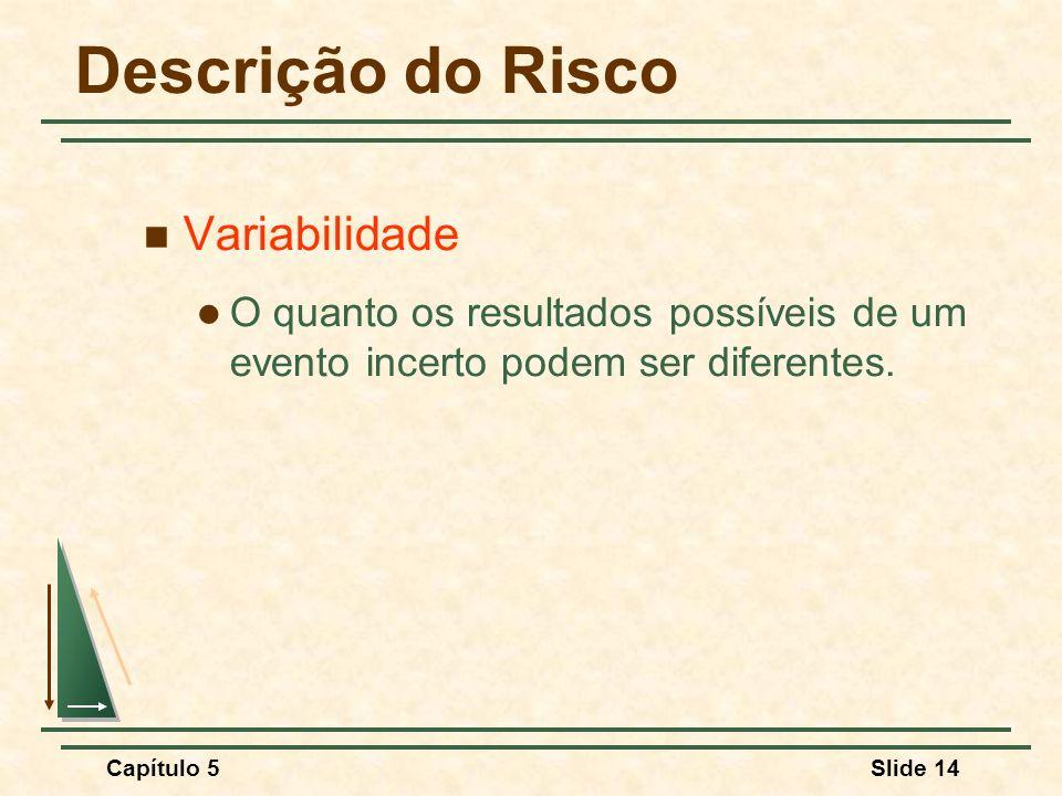 Capítulo 5Slide 14 Descrição do Risco Variabilidade O quanto os resultados possíveis de um evento incerto podem ser diferentes.