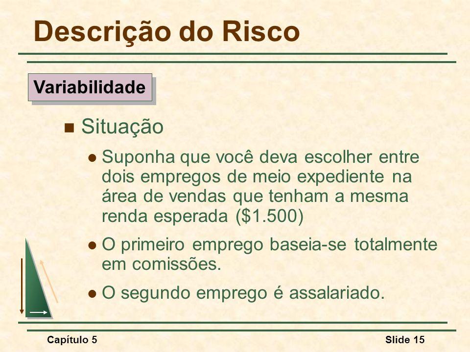 Capítulo 5Slide 15 Descrição do Risco Situação Suponha que você deva escolher entre dois empregos de meio expediente na área de vendas que tenham a me