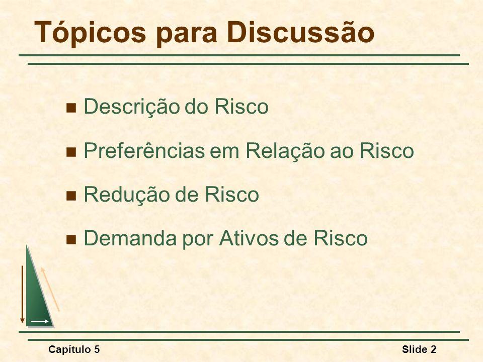 Capítulo 5Slide 2 Tópicos para Discussão Descrição do Risco Preferências em Relação ao Risco Redução de Risco Demanda por Ativos de Risco