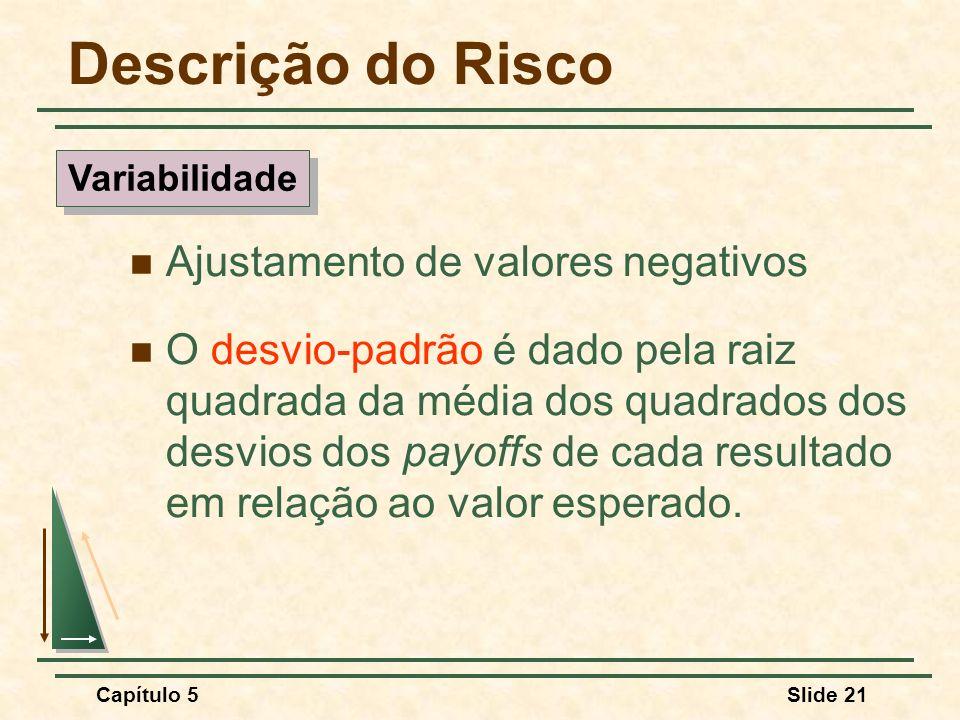 Capítulo 5Slide 21 Ajustamento de valores negativos O desvio-padrão é dado pela raiz quadrada da média dos quadrados dos desvios dos payoffs de cada r