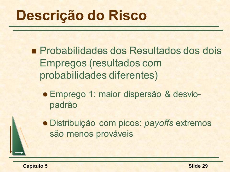 Capítulo 5Slide 29 Descrição do Risco Probabilidades dos Resultados dos dois Empregos (resultados com probabilidades diferentes) Emprego 1: maior disp