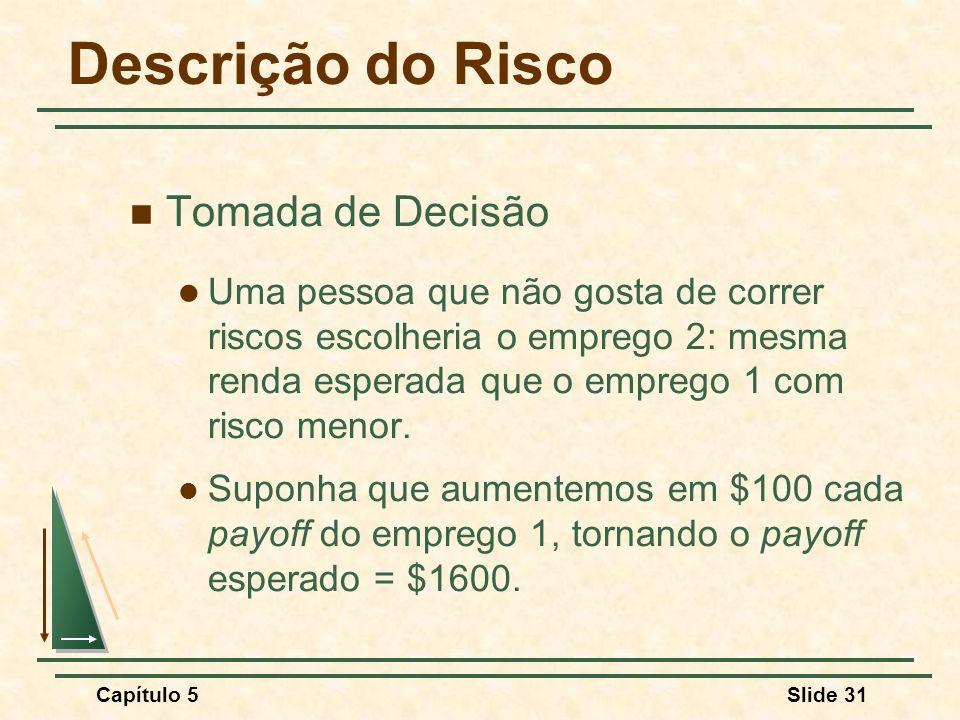 Capítulo 5Slide 31 Descrição do Risco Tomada de Decisão Uma pessoa que não gosta de correr riscos escolheria o emprego 2: mesma renda esperada que o e