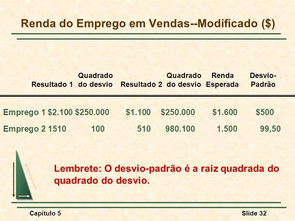 Capítulo 5Slide 32 Renda do Emprego em Vendas--Modificado ($) Lembrete: O desvio-padrão é a raiz quadrada do quadrado do desvio. Emprego 1 $2.100 $250