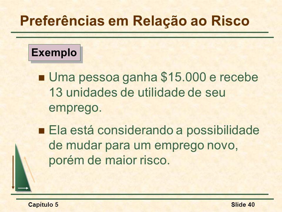 Capítulo 5Slide 40 Preferências em Relação ao Risco Uma pessoa ganha $15.000 e recebe 13 unidades de utilidade de seu emprego. Ela está considerando a