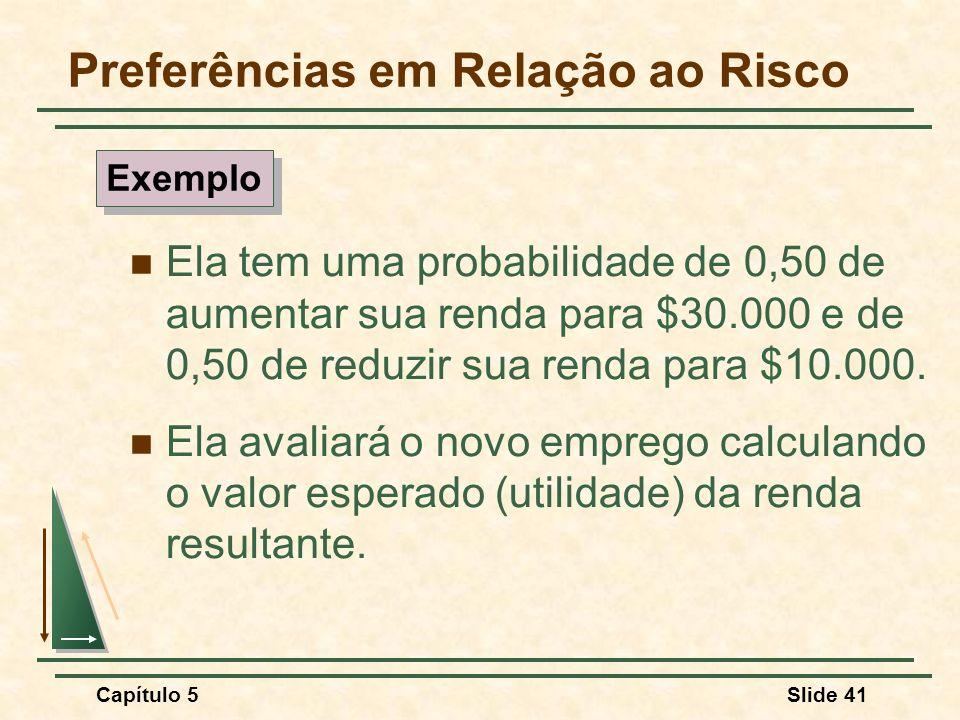 Capítulo 5Slide 41 Preferências em Relação ao Risco Ela tem uma probabilidade de 0,50 de aumentar sua renda para $30.000 e de 0,50 de reduzir sua rend