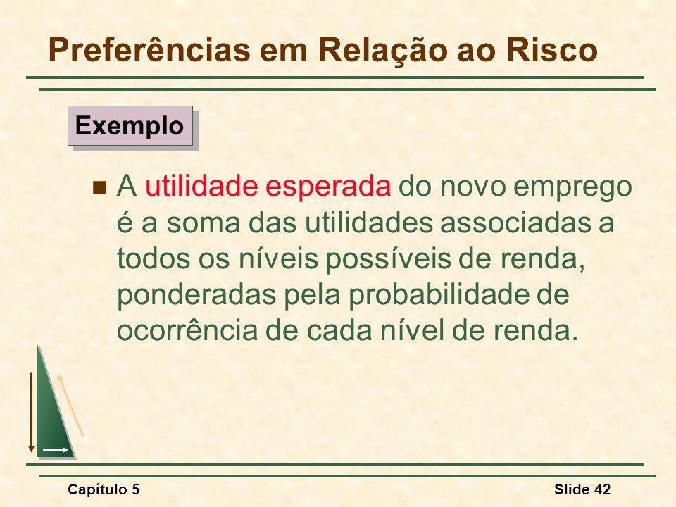 Capítulo 5Slide 42 Preferências em Relação ao Risco A utilidade esperada do novo emprego é a soma das utilidades associadas a todos os níveis possívei