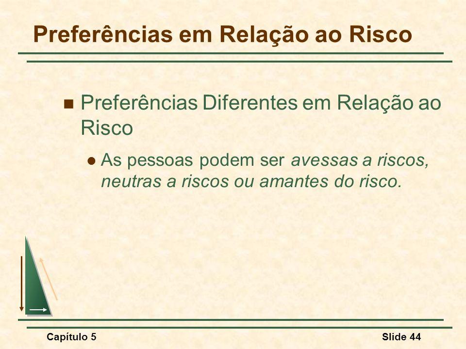 Capítulo 5Slide 44 Preferências em Relação ao Risco Preferências Diferentes em Relação ao Risco As pessoas podem ser avessas a riscos, neutras a risco