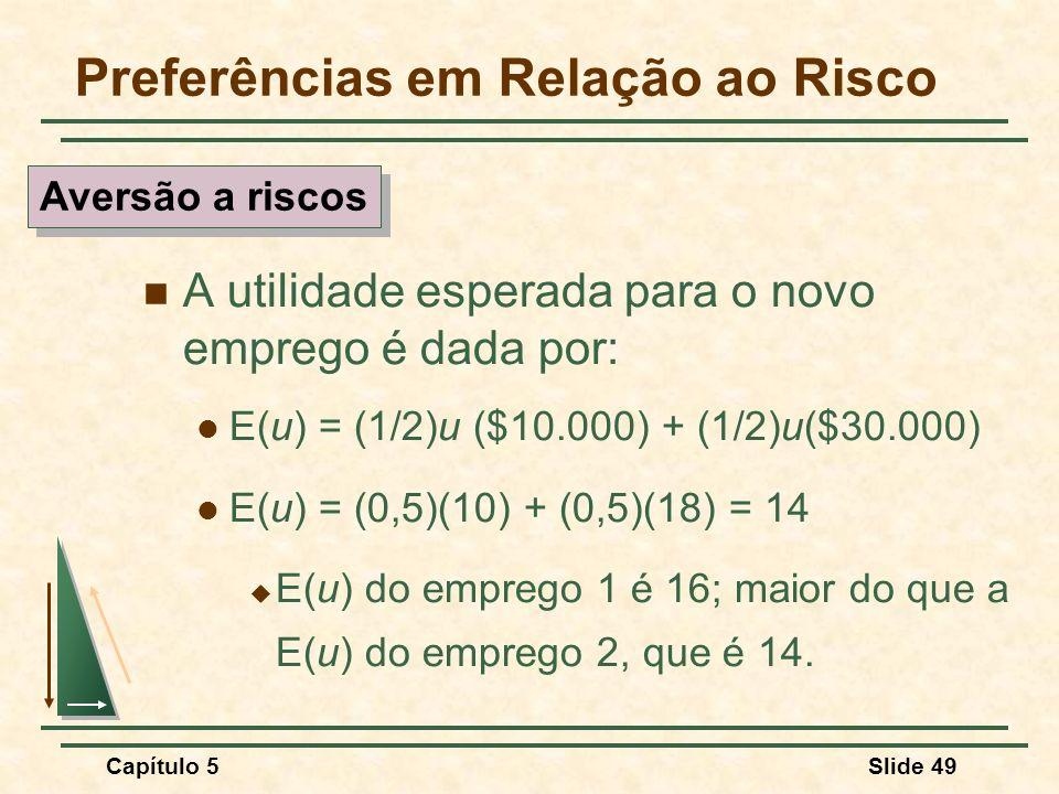 Capítulo 5Slide 49 Preferências em Relação ao Risco A utilidade esperada para o novo emprego é dada por: E(u) = (1/2)u ($10.000) + (1/2)u($30.000) E(u