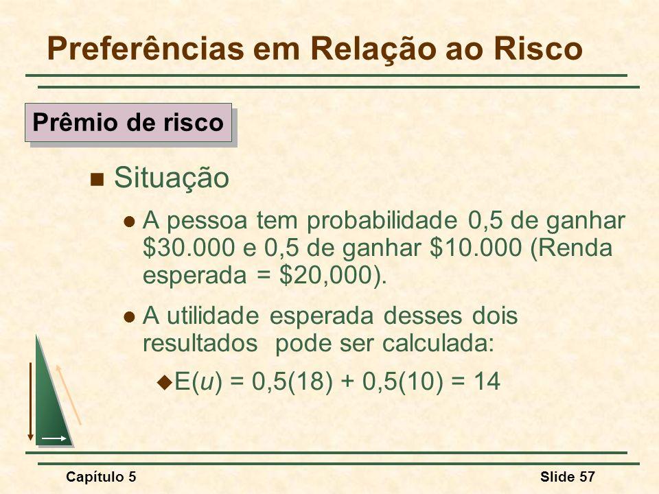 Capítulo 5Slide 57 Preferências em Relação ao Risco Situação A pessoa tem probabilidade 0,5 de ganhar $30.000 e 0,5 de ganhar $10.000 (Renda esperada