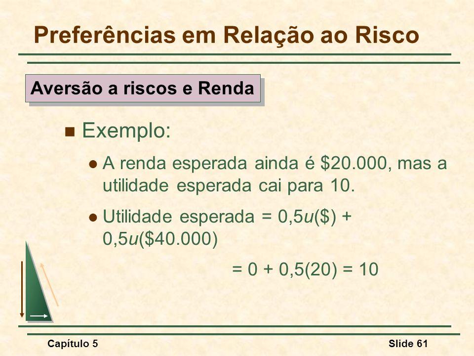 Capítulo 5Slide 61 Preferências em Relação ao Risco Exemplo: A renda esperada ainda é $20.000, mas a utilidade esperada cai para 10. Utilidade esperad