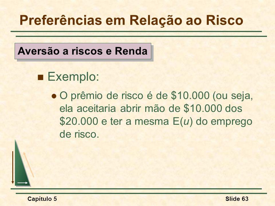 Capítulo 5Slide 63 Preferências em Relação ao Risco Exemplo: O prêmio de risco é de $10.000 (ou seja, ela aceitaria abrir mão de $10.000 dos $20.000 e
