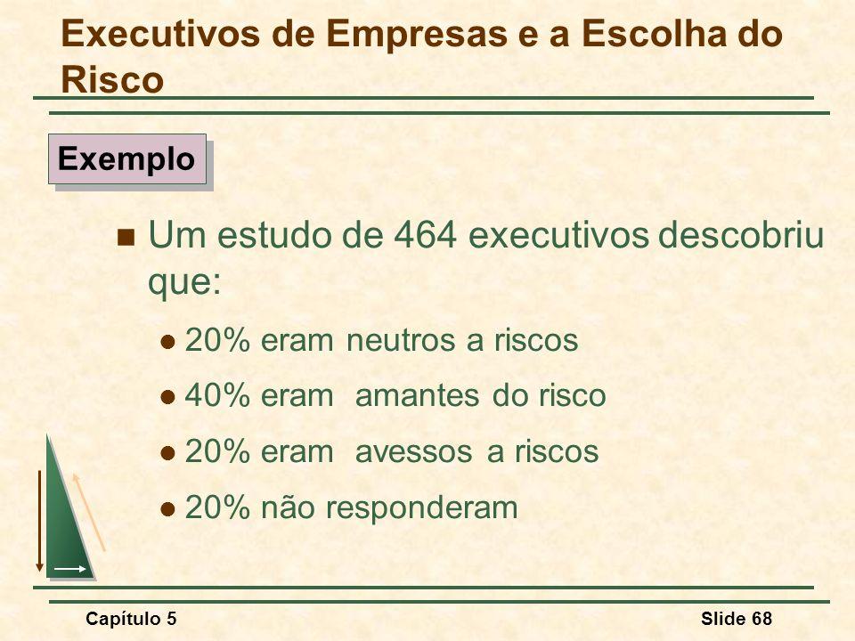 Capítulo 5Slide 68 Executivos de Empresas e a Escolha do Risco Um estudo de 464 executivos descobriu que: 20% eram neutros a riscos 40% eram amantes d
