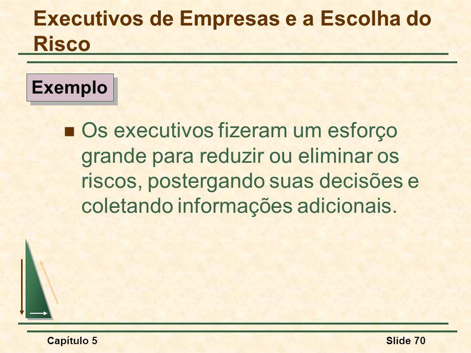Capítulo 5Slide 70 Os executivos fizeram um esforço grande para reduzir ou eliminar os riscos, postergando suas decisões e coletando informações adici