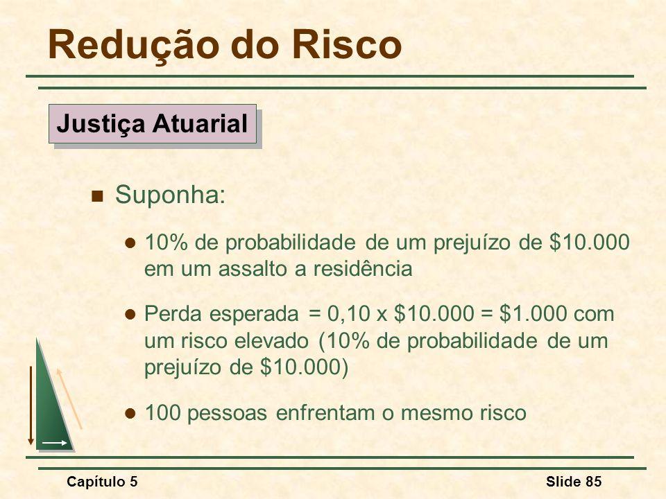 Capítulo 5Slide 85 Redução do Risco Suponha: 10% de probabilidade de um prejuízo de $10.000 em um assalto a residência Perda esperada = 0,10 x $10.000