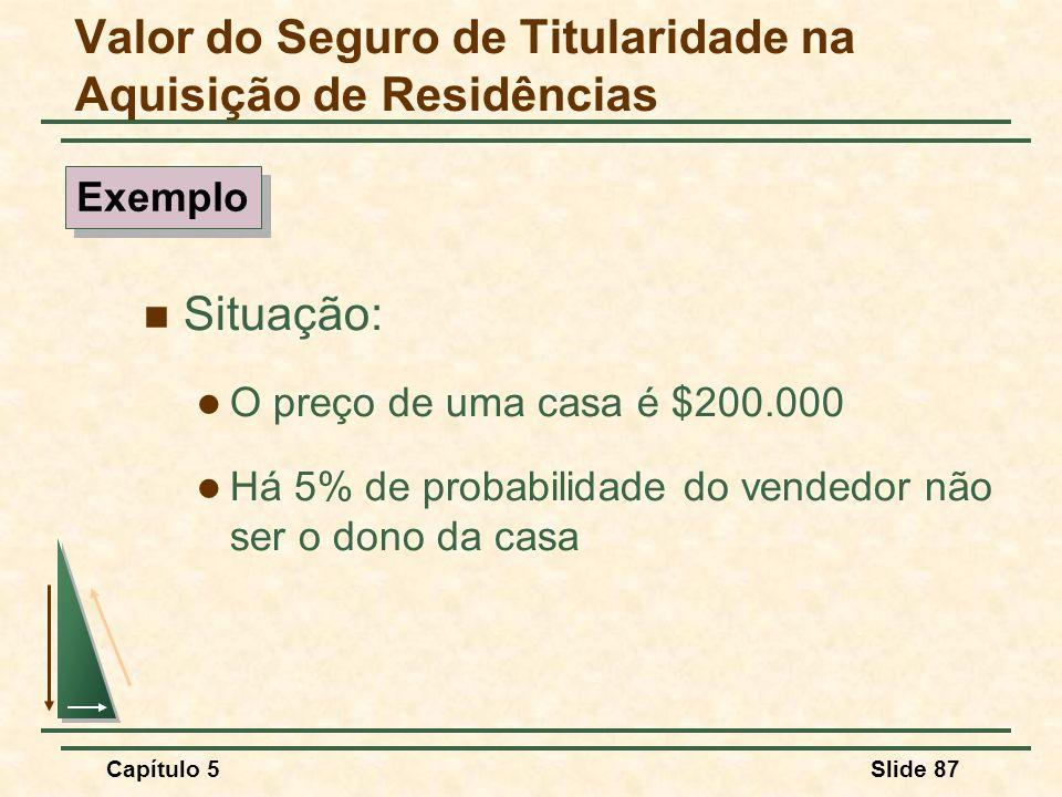 Capítulo 5Slide 87 Valor do Seguro de Titularidade na Aquisição de Residências Situação: O preço de uma casa é $200.000 Há 5% de probabilidade do vend