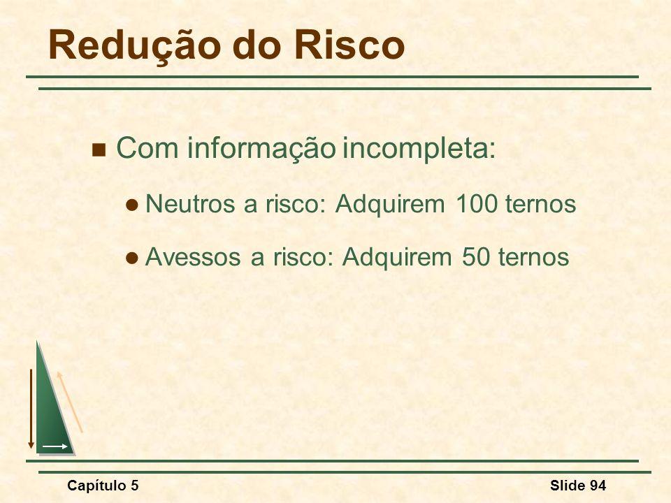 Capítulo 5Slide 94 Redução do Risco Com informação incompleta: Neutros a risco: Adquirem 100 ternos Avessos a risco: Adquirem 50 ternos