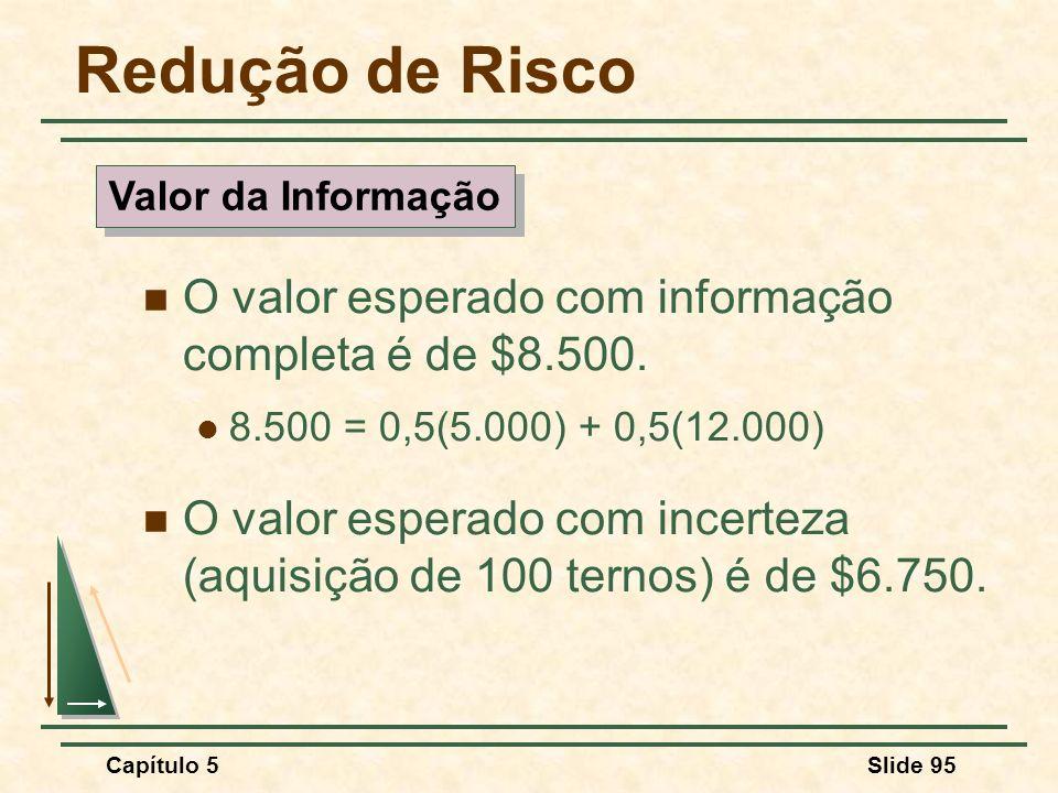 Capítulo 5Slide 95 Redução de Risco O valor esperado com informação completa é de $8.500. 8.500 = 0,5(5.000) + 0,5(12.000) O valor esperado com incert