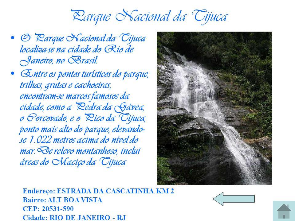 Parque Nacional da Tijuca O Parque Nacional da Tijuca localiza-se na cidade do Rio de Janeiro, no Brasil. Entre os pontos turísticos do parque, trilha
