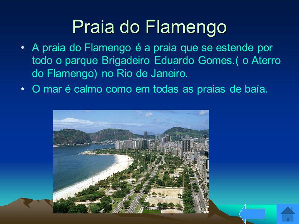 Praia do Flamengo A praia do Flamengo é a praia que se estende por todo o parque Brigadeiro Eduardo Gomes.( o Aterro do Flamengo) no Rio de Janeiro. O