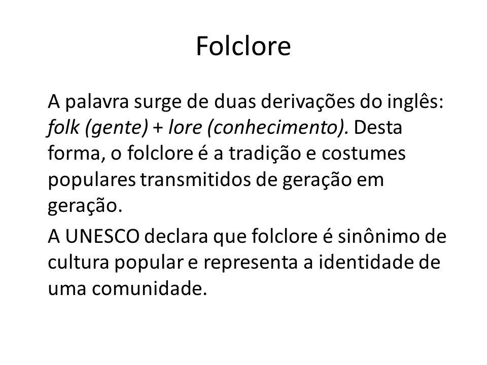 Folclore A palavra surge de duas derivações do inglês: folk (gente) + lore (conhecimento).