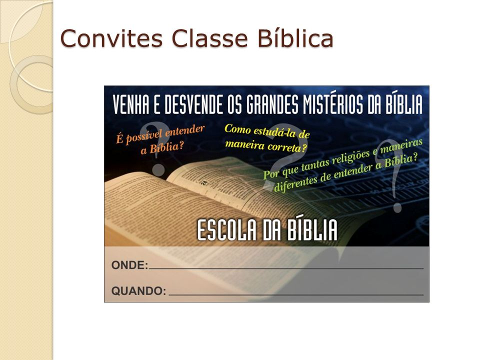 Convites Classe Bíblica