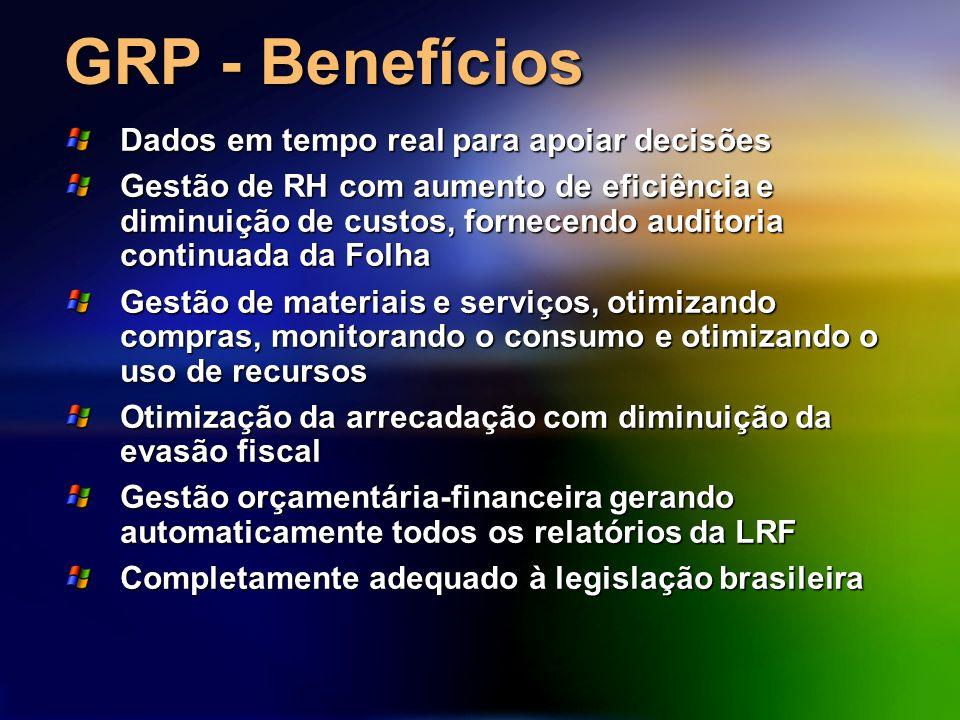 GRP - Benefícios Dados em tempo real para apoiar decisões Gestão de RH com aumento de eficiência e diminuição de custos, fornecendo auditoria continuada da Folha Gestão de materiais e serviços, otimizando compras, monitorando o consumo e otimizando o uso de recursos Otimização da arrecadação com diminuição da evasão fiscal Gestão orçamentária-financeira gerando automaticamente todos os relatórios da LRF Completamente adequado à legislação brasileira