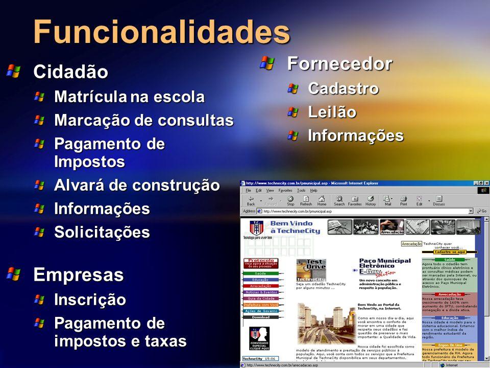 Funcionalidades Cidadão Matrícula na escola Marcação de consultas Pagamento de Impostos Alvará de construção InformaçõesSolicitações FornecedorCadastr