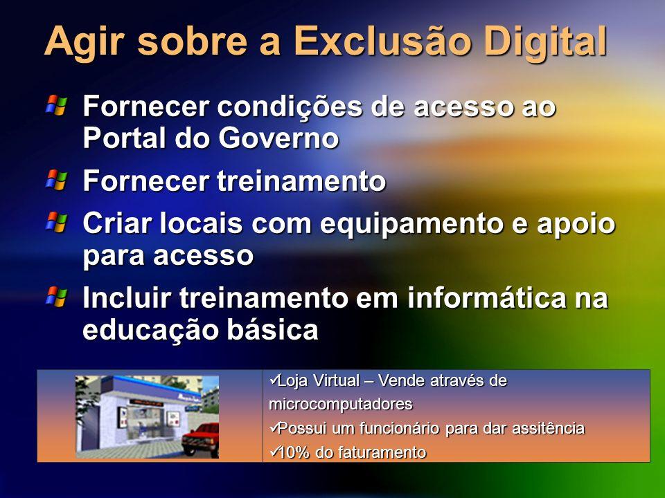 Agir sobre a Exclusão Digital Fornecer condições de acesso ao Portal do Governo Fornecer treinamento Criar locais com equipamento e apoio para acesso