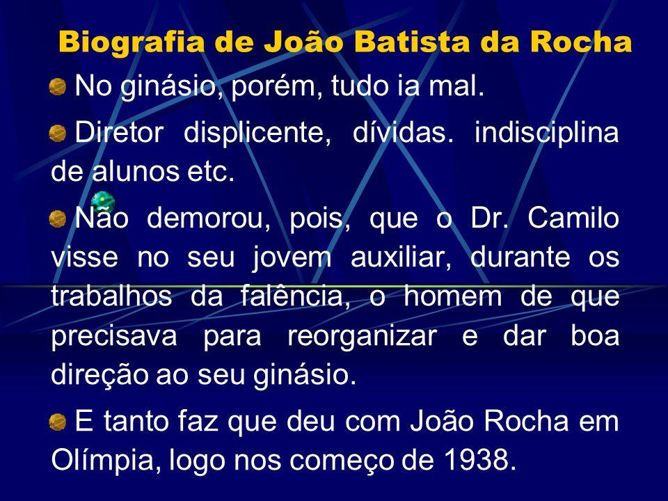 Biografia de João Batista da Rocha No ginásio, porém, tudo ia mal. Diretor displicente, dívidas. indisciplina de alunos etc. Não demorou, pois, que o