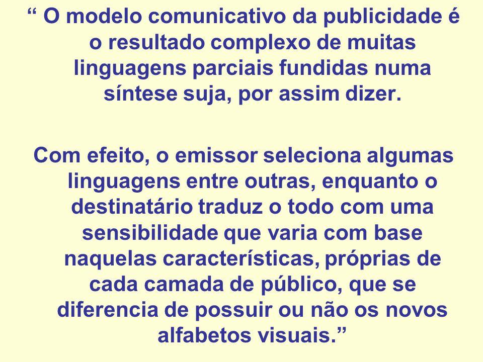 O modelo comunicativo da publicidade é o resultado complexo de muitas linguagens parciais fundidas numa síntese suja, por assim dizer. Com efeito, o e