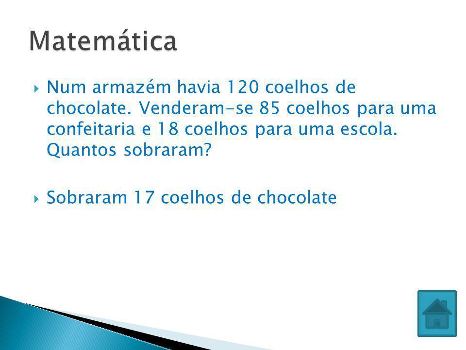 Num armazém havia 120 coelhos de chocolate. Venderam-se 85 coelhos para uma confeitaria e 18 coelhos para uma escola. Quantos sobraram? Sobraram 17 co