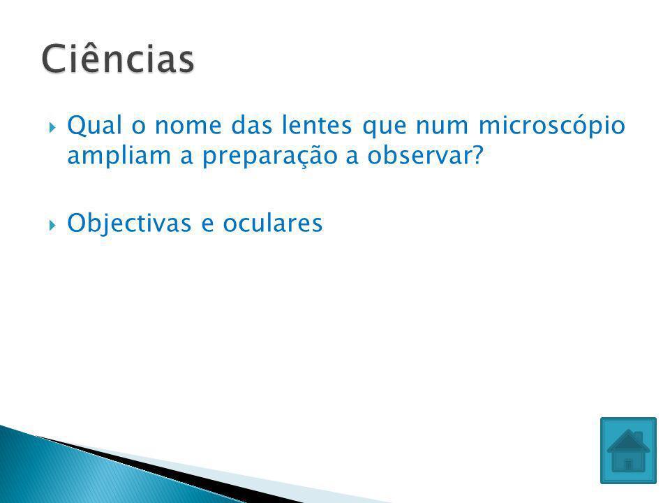 Qual o nome das lentes que num microscópio ampliam a preparação a observar? Objectivas e oculares