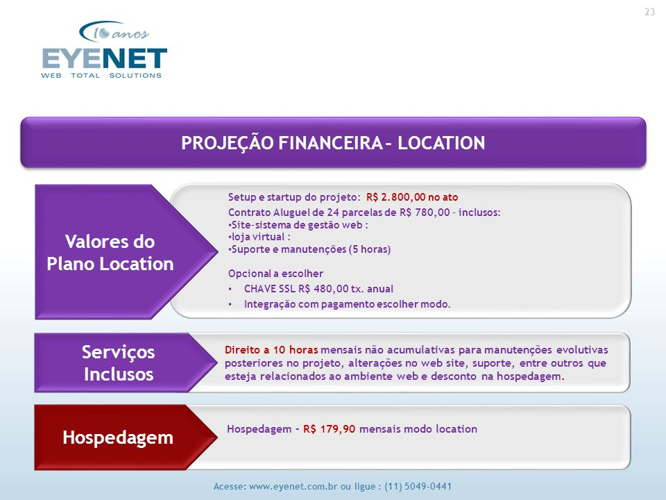 23 Acesse: www.eyenet.com.br ou ligue : (11) 5049-0441 Setup e startup do projeto: R$ 2.800,00 no ato Contrato Aluguel de 24 parcelas de R$ 780,00 – inclusos: Site–sistema de gestão web : loja virtual : Suporte e manutenções (5 horas) Opcional a escolher CHAVE SSL R$ 480,00 tx.